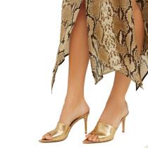 Arden Furtado Summer Concise Fashion Trend Women's Shoes Stilettos Heels Leather Pure Color Gold Slippers Elegant Big size 45