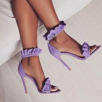 Arden Furtado summer 2019 fashion women's shoes buckle strap stilettos heels open toe ruffles sandals