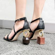 Arden Furtado summer 2019 fashion women's shoes strange fretwork heels buckle strap genuine leather sandals