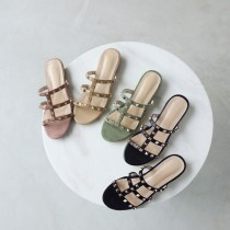 Arden Furtado Summer Fashion Trend Women's Shoes Pure Color Slippers Narrow Rivet Band Leather Flats Concise
