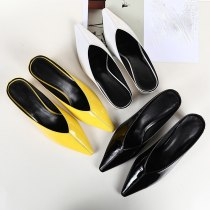Arden Furtado Summer Fashion Trend Women's Shoes Pointed Toe Mules Pure Color Yellow Leather Chunky Heels Sexy Elegant Slippers