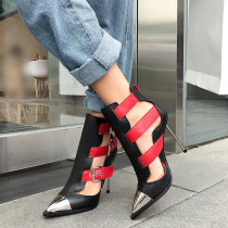 Arden Furtado Summer Fashion Women's Shoes Narrow Band Pointed Toe Stilettos Heels Sexy Elegant Buckle Sandals Party Shoes