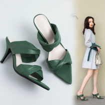 Arden Furtado Summer Fashion Trend Women's Shoes green rice-white Stilettos Heels  Concise Slippers Office Lady