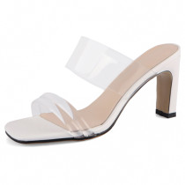 Arden Furtado Summer Fashion Trend Women's Shoes Narrow Band Concise Chunky Heels Sexy Concise Elegant Pure Color white black