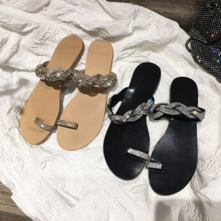 Arden Furtado Summer Fashion Trend Women's Shoes Sexy Crystal Rhinestone Classics Elegant Concise Slippers Flats Narrow Band