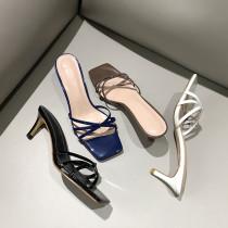 Arden Furtado Summer Fashion Women's Shoes Crystal Rhinestone Narrow Band Stilettos Heels   Sexy Elegant Pure Color Slippers