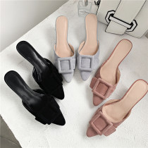 Arden Furtado Summer Fashion Trend Women's Shoes Pointed Toe Stilettos Heels Sexy Office lady Mature Elegant Sweet Pure Color Slippers