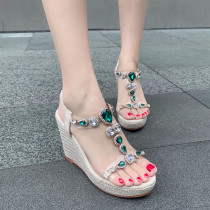 Arden Furtado Summer Fashion Trend Women's Shoes  Sexy Narrow Band Crystal Rhinestone Elegant Pure Color Sandals Waterproof