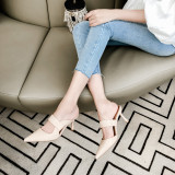 Arden Furtado Summer Fashion Women's Shoes Pointed Toe Stilettos Heels closed toe Mules Slippers genuine leather