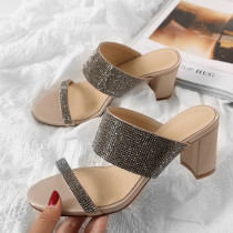 Arden Furtado Summer Fashion Trend Women's Shoes Chunky Heels Personality Elegant Pure Color nude Classics Slippers Narrow Band