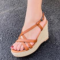Arden Furtado Summer Fashion Trend Women's Shoes  Elegant Pure Color Narrow Band Leather Waterproof Retro Concise Classics