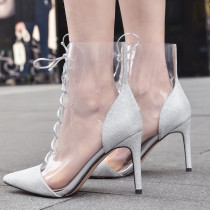 Arden Furtado Summer Fashion Trend Women's Shoes Pointed Toe Stilettos Heels Cool boots Transparent Sexy Elegant Cross Lacing Ladies Boots