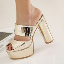 Arden Furtado Summer Fashion Trend Women's Shoes Peep Toe Chunky Heels Narrow Band Sexy Elegant Waterproof Pure Color Slippers