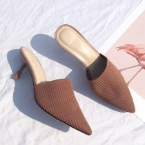 Arden Furtado Summer Fashion Trend Women's Shoes Pointed Toe Stilettos Heels Classics Sexy Elegant Pure Color Mules Slippers