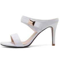 Arden Furtado Summer Fashion Trend Women's Shoes Stilettos Heels Sexy Elegant Mature Pure Color Classics Narrow Band Slippers