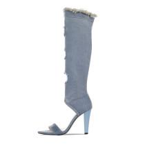 Arden Furtado Summer Fashion Women's Shoes Cone Heels peep toe knee high boots Sandals dark blue denim Elegant Jeans boots