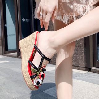 Arden Furtado Summer Fashion Women's Shoes Sexy Elegant  Elegant Waterproof  Flowers wedges Slippers