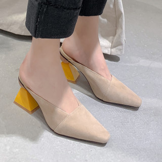 Arden Furtado Summer Fashion Women's Shoes Special-shaped Heels Sexy Classics Concise Elegant Slippers mules