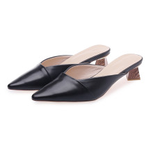 Arden Furtado Summer Fashion  Women's Shoes Pointed Toe Special-shaped Heels Leather Pure Color Sexy Elegant Slippers mules