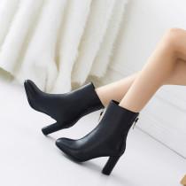 Arden Furtado Fashion Women's Shoes Winter  Chunky Heels Back Zipper Mature Short Boots Classics Pure Color White Women's Boots