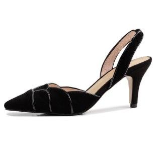 Arden Furtado Summer Fashion Women's Shoes Pointed Toe Stilettos Heels slingbacks Sexy Buckle Elegant ruffles Sandals mules