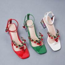 Arden Furtado Summer Fashion Trend Women's Shoes Chunky Heels Sexy Elegant Pure Color Buckle Classics Narrow Band Sandals