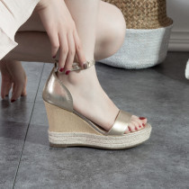 Arden Furtado Summer Fashion Trend Women's Shoes   Sexy Elegant Pure Color Sandals Office lady Buckle Mature Concise Wedges
