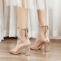 Arden Furtado Summer Fashion Trend Women's Shoes Cool boots Pure Color Back zipper Peep Toe Classics Short Boots