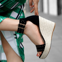 Arden Furtado Summer Fashion Trend Women's Shoes  Sexy Elegant Pure Color Sandals Mature  Comfortable Buckle Classics Concise Wedges Sexy