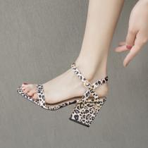 Arden Furtado Summer Fashion Trend Women's Shoes Chunky Heels Sandals Sexy Buckle Elegant Leopard Print Mature Narrow Band