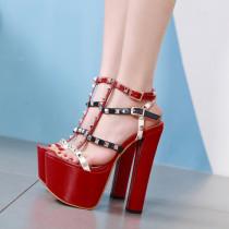 Arden Furtado Summer Fashion Trend Women's Shoes Chunky Heels  Sexy Elegant Pure Color Classics Rivet Leather Waterproof Sandals