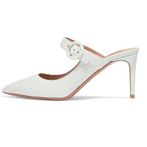 Arden Furtado Summer Fashion Women's Shoes Pointed Toe Stilettos Heels Sexy Slippers Mules Buckle red white mules