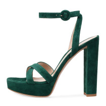 Arden Furtado Summer Fashion Women's Shoes Chunky Heels green suede Sandals Personality Party Shoes Sexy Platform Elegant white shoes
