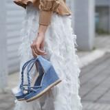 Arden Furtado summer wedges sandals platform peep toe woman shoes ladies blue brown black suede T-strap sandals
