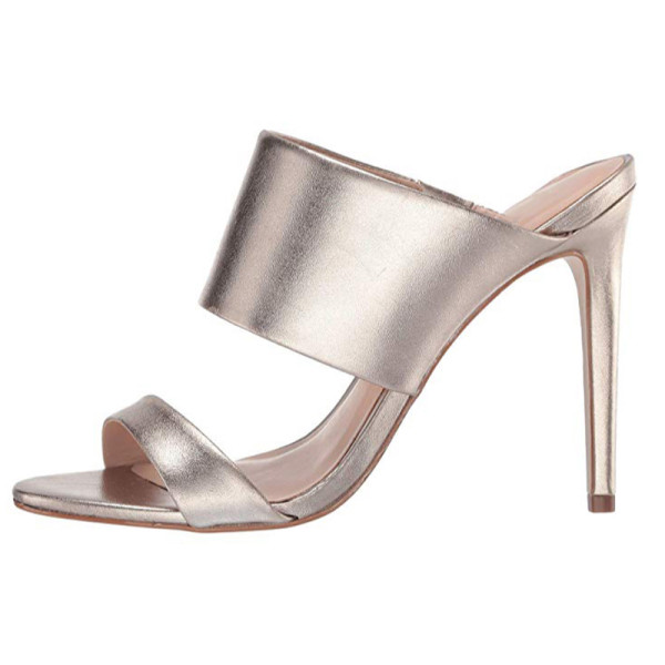 Arden Furtado Summer Fashion Trend Women's Shoes Stilettos Heels  Sexy Elegant Pure Color Narrow Band Concise Slippers  Leather