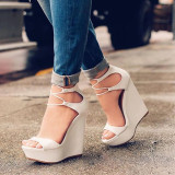 Arden Furtado Summer Fashion Trend Women's Shoes Sexy Elegant Pure Color Concise Leather Sandals Mature Wedges Office lady Big size 47