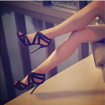 Arden Furtado Summer Fashion Trend Women's Shoes Stilettos Heels Pure Color Mature Sandals Sexy Classics Back zipper Narrow Band  Big size 47
