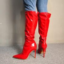 Arden Furtado Fashion Women's Shoes Winter  Pointed Toe Stilettos Heels Zipper Pure Color Classics Concise Women's Boots Knee High Boots  Big size 47