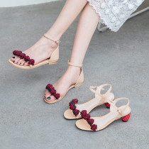Arden Furtado Summer Fashion Trend Women's Shoes  Sexy Elegant Pure Color strawberry Sandals concise Buckle Sweet