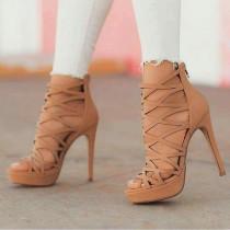 Arden Furtado Summer Fashion Trend Women's Shoes Stilettos Heels  Sexy Elegant Pure Color  Classics Narrow Band Sandals Back zipper