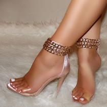 Arden Furtado Summer Fashion Trend Women's Shoes Pure Color Sandals Stilettos Heels Metal Chain Mature Elegant Concise Narrow Band  Big size 47