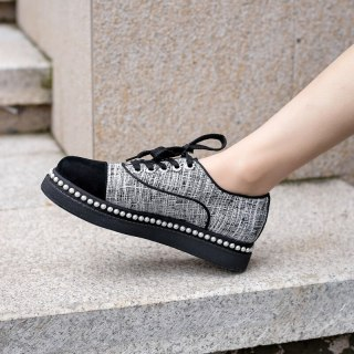Arden Furtado Spring And autumn Fashion Women's Shoes Pure Color gray Cross Lacing Round Toe Leisure Concise  Classics Mature