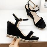 Arden Furtado Summer Fashion Trend Women's Shoes  Sexy Elegant Pure Color Sandals Buckle Waterproof Concise Classics