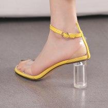 Arden Furtado Summer Fashion Women's Shoes Classics Chunky Heels Sexy Elegant Pure Color Narrow Band Elegant Buckle Sandals