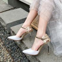 Arden Furtado Summer Fashion Trend Women's Shoes Pointed Toe Stilettos Heels  Sexy Elegant Concise Pure Color Sandals Buckle