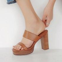 Arden Furtado Summer Fashion Women's Shoes  Chunky Heels  Sexy Narrow Band Elegant Pure Color Elegant Sandals Stilettos Heels