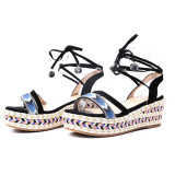 Arden Furtado Summer Fashion Trend Women's Shoes  Sexy Elegant Sandals Lace up Wedges Waterproof