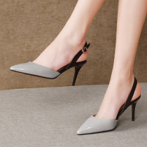 Arden Furtado Summer Fashion Trend Women's Shoes Pointed Toe Stilettos Heels Pure Color Office lady Pure ColorLeather Classics Buckle