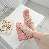 Arden Furtado Summer Fashion Trend Women's Shoes  Sexy Elegant Pure Color Wedges Sandals Rivet Buckle Narrow Band Big size 40