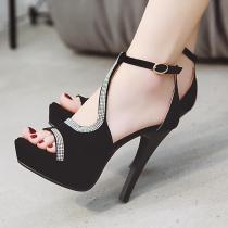 Arden Furtado Summer Fashion Trend Women's Shoes Stilettos Heels Sexy Elegant Pure Color Concise Waterproof Sandals Buckle